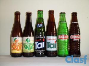 garrafas refrigerante várias antigas brahma limão guaraná skol laranja taí anos década 80 90